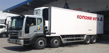 自社冷凍・冷蔵トラックを配備し、全国各地、中国・東南アジア各国で定温輸送体制を確立。