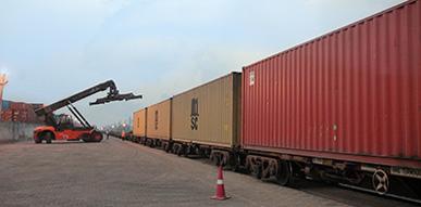 ナバシェバ・ピパバブ・ムンドラの西インド主要3港から、北インド・デリー周辺までの区間で鉄道コンテナ輸送を実施。一度に90TEU(※)の大量輸送を実現。<br>※1TEU=20フィートコンテナ1個分